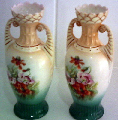 Gift Idea Pair Antique English Hand Painted Vases Urn Shape 20cm H Dainty