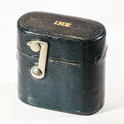 Antique Edwardian travelling inkwell leather with flip top lid. Collectable gift