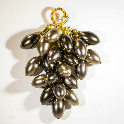Vintage 1960s statement brooch faux pearl bunch of grapes costume jewellery