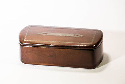 Antique snuff box lacquered wood with metal inlay hinged lid collectables treen