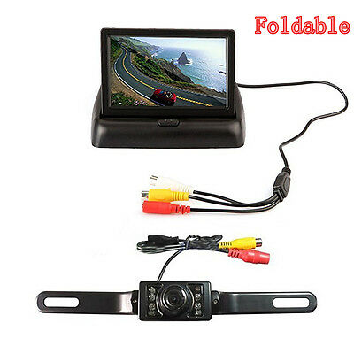 """Infrared Car License Plate Frame Reverse Camera & 4.3"""" Foldable LCD TFT Monitor"""