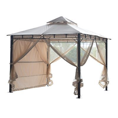 Outsunny 10x10ft Gazebo Patio Outdoor Party Event Extra Awning w/ Mosquito Net