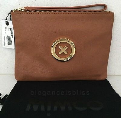 Authentic Mimco Supernatural Medium Pouch • Honey Brown & Gold • RRP$99.95 •BNWT