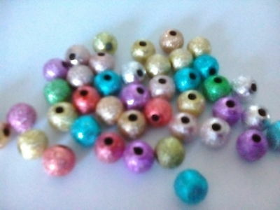 100 Mixed Stardust Spacer Beads 6mm / Hole 1.2mm Acrylic Crafting
