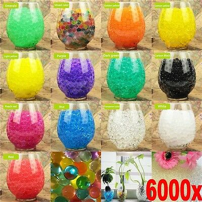 6000Pcs Water Plant Flower Jelly Hydro Gel Pearl Beads Balls Crystal Soil Mud