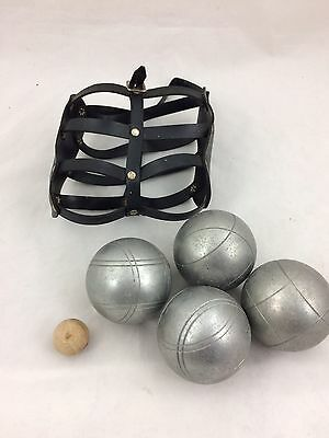 Metal Garden Boules Bowling - 4 Balls And Jack With Leather Carry Case