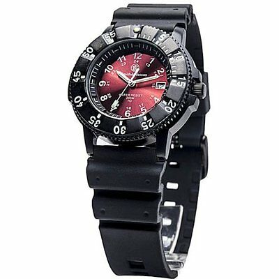 Smith & Wesson Diver Watch w/Red Dial - Swiss Tritium SWW-450-RED