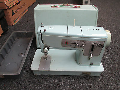 Vintage Retro Electric Singer Sewing Machine Model 348 Baby Blue Shop Decorators