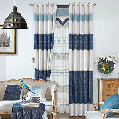 Western Cowboy Blue Strip Blockout Luxury Curtains Custom Made Sheer Drapes Room