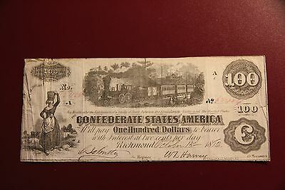 """1862 $100 DOLLARS CONFEDERATE STATES OF AMERICA AUTHENTIC CURRENCY T-40 """"C"""" Note"""