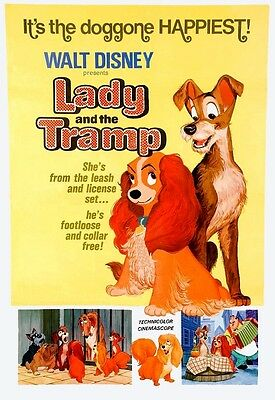 Lady & The Tramp 1955  Film A3 Poster Reprint