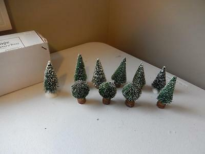 Department 56 - Village Frosted Topiary Trees - Set of 10