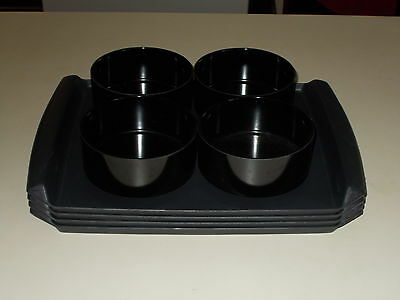 8 pc Heller Trays and Melmac Bowls in Black