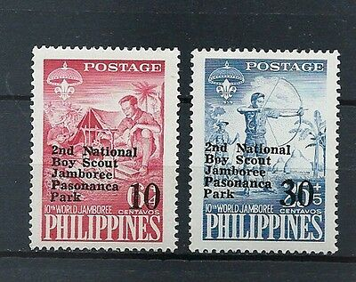 Philippines ,1961 , Boy Scouts , Set Of 2 O.p. & R.v. In Black , Perf,  Mnh