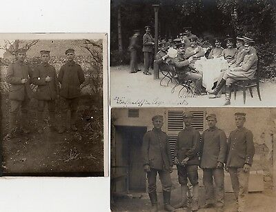 German soldiers, officers, 3 photographs set - WW1