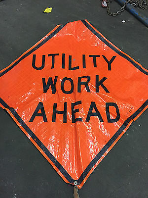 "Utility Work Ahead Fluorescent Vinyl Road Sign 48"" X 48"""