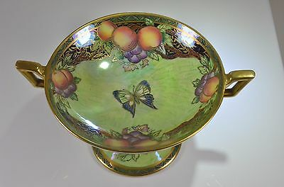 beautiful vintage New Hall Lucien Boullemier butterfly gold lustre trinket bowl