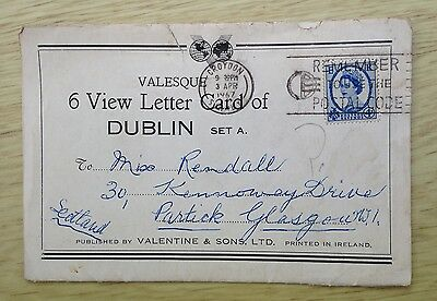 Postcard 6 View Letter Card of Dublin Set A To Partick Glasgow