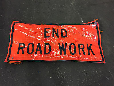 "End Road Work Fluorescent Vinyl Road Sign with Ribs 24"" X 48"""