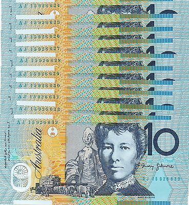 AUSTRALIA $10 Dollars x 10 2015 NEW Stevens/Fraser - Run of 10 UNC Banknotes