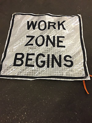 "Work Zone Begins Fluorescent Vinyl Road Sign with ribs  48"" X 48"""