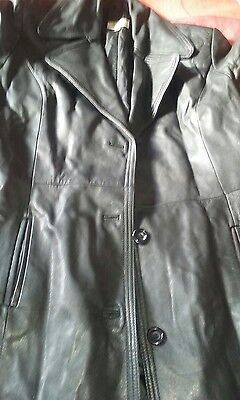 Vintage leather long coat/goth/heavy metal