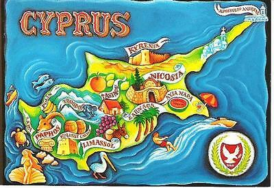 Map - stylised map of Cyprus - postcard c.1980s