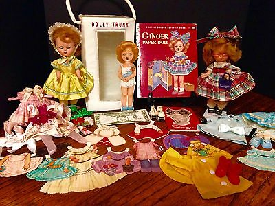 1950's Cosmopolitan's Ginger Dolls With Tagged Outfits, Paper Doll And Extras