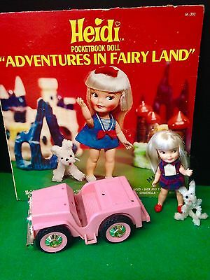 Remco Vintage Heidi Doll , Dog , Pink Car And Record With Great Graphics !