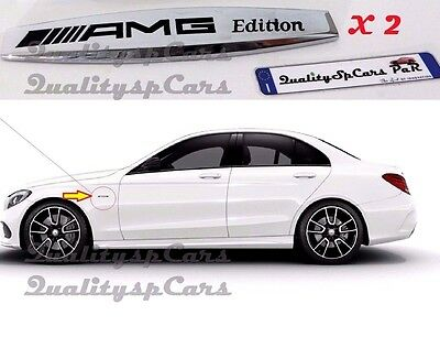 X2 MERCEDES benz AMG EDITION ADESIVI METALLIC badge fender LOGO STEMMI LATO CLAS