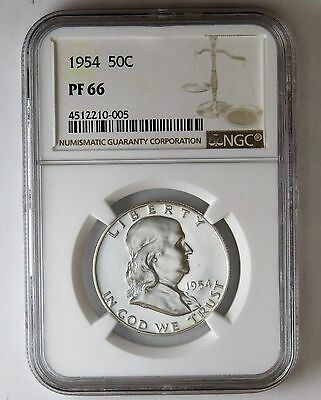 1954 50c Silver Proof Franklin Half Dollar NGC PF 66