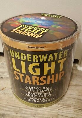 Underwater Light Starship AquaGlow Disco Ball Floats Swimming Pool Party #3559