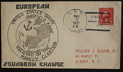 USA 1937 USS Manley Illustrated Cover Europe Squadron Change Gibraltar to Albany