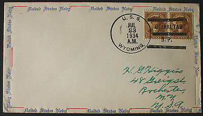 USA 1934 USS Wyoming Cancel on US Navy Cover from Gibraltar to Rochester, NY