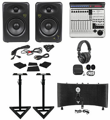 Mackie MCU Pro 8-ch DAW Controller+Monitors+Stands+Pads+Headphones+Shield+Mic