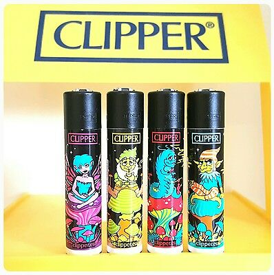Clipper Lighters x4 Cool Rare Black Top Stoned Elves & Fairies Weed Gift Smoke
