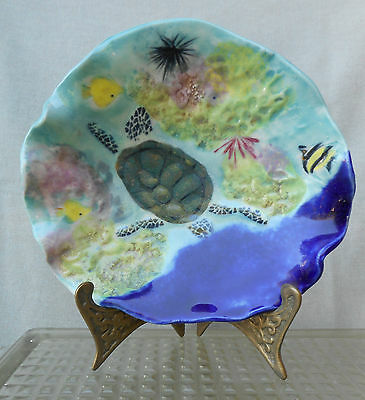 Ina Koch  Hand Crafted Dish,  Inspired By Hawaiian Sea Life, Features A Turtle