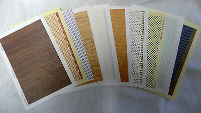 1/144th scale Wallpaper and Flooring Lot of 10 pages for Dollhouse Miniatures