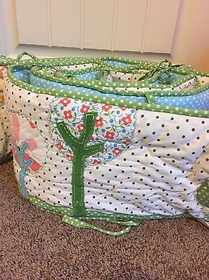 Pottery Barn Kids Crib Bumper Green And Blue Embroidered Birds And Trees - GUC