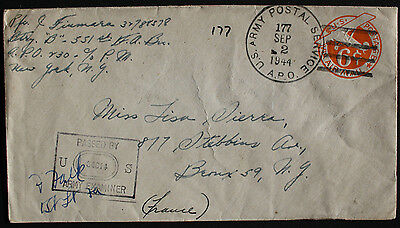 USA 1944 Censored 6c Air Mail Cover Examined By 34814 from APO 230 to New York