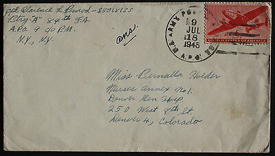 USA 1945 US Army Postal Service Cancel on Cover  from APO 9, Germany to Denver