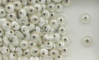 925 Sterling Silver 8mm Corrugated Rondelle Spacer Beads,  Choice of Lot Size