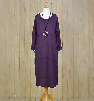 Ladies Lagenlook Plus Size Dress Tunic Style Long Womens 20 22 New  Quirky K35