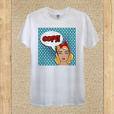 Blonde Girl Red Bow Speech Bubble Dot Pop Art T-shirt Design Cotton unisex women