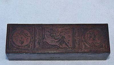 Old Copper Printing Plate On Lead Block - Reclining Lady In Frame Display - Reed