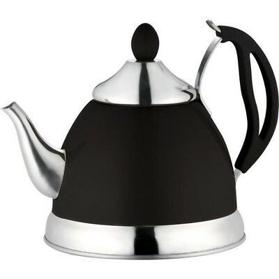 Black 1.5L Stainless Steel Tea Pot With Removeable Infuser Non Drip Spout Teapot