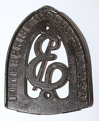 Antique Flat Iron Cast Iron Trivet Stamped Enterprise Mfg. Co. Phila. U.s.a.