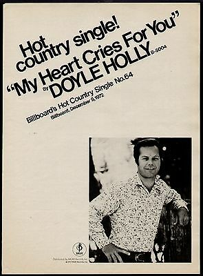"""1972 Doyle Holly """"my Heart Cries For You"""" Song Promo Ad"""
