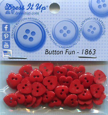 Dress It Up Buttons/Embellishments - Small Red Hearts, approx 10mm, pk approx 40