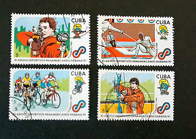 1Cuba  PAN AMERICAN GAMES  PAN-AM 1989 set of 4 used COMMEMORATIVE stamps SPORTS
